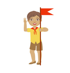 Cute boy scout carrying red flag a colorful vector