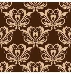 Damask brown seamless floral pattern vector