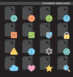 Document dark icons vector