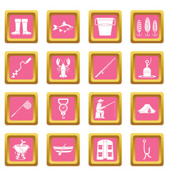 Fishing tools icons pink vector