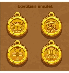 Golden old egyptian amulet vector