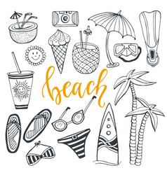 Icon set summer beach holidays with surfboard vector
