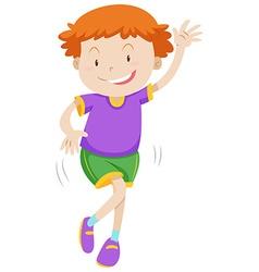 Little boy dancing alone vector image vector image
