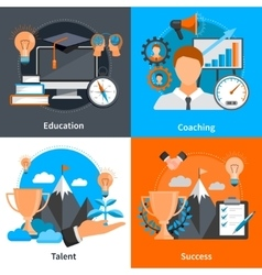 Mentoring Coaching Concept 2x2 Icons Set vector image vector image