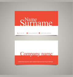 Modern simple business card template with big name vector