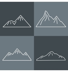 Mountain line icons on gray background vector image