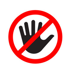 No entry sign icon with a crossed-out hand vector