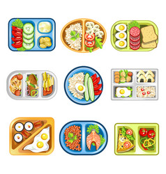 Nutritious complex lunches in convenient plastic vector
