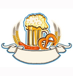 oktoberfest symbol with beer and traditional food vector image