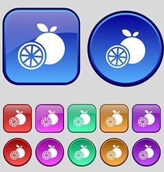 Orange icon sign a set of twelve vintage buttons vector