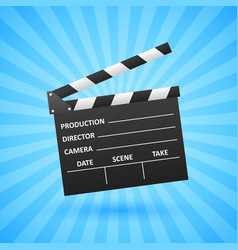Realistic cinema clapper movie making vector