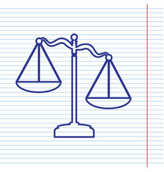 Scales of justice sign navy line icon on vector
