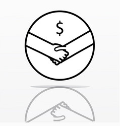Shaking hands with dollar symbol simple design vector