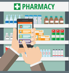 the concept of online pharmacy vector image vector image