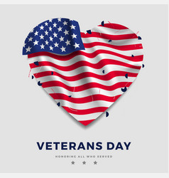 veterans day poster realistic american flag with vector image