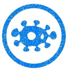 Virus rounded icon rubber stamp vector