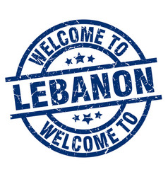 welcome to lebanon blue stamp vector image
