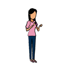 Young woman standing cartoon image vector