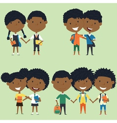 Best friends african american school kids vector