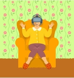 Old woman wearing virtual reality glasses at home vector