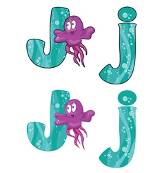 Letter j jellyfish vector