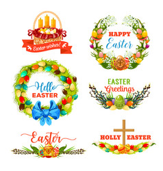 Easter holiday symbol with egg and flower wreath vector