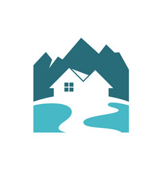 House logo at the foot of the mountain vector