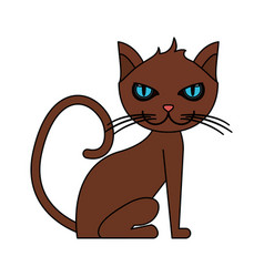 Color image cartoon front view cat animal sitting vector