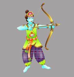God of krishna shoots from a bow vector