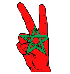 Peace sign of the moroccan flag vector