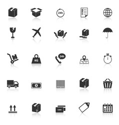 Shipping icons with reflect on white background vector