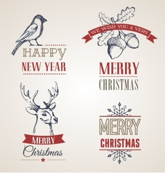 Christmas vintage concept with typography and vector image