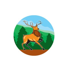 Red stag deer side marching circle cartoon vector