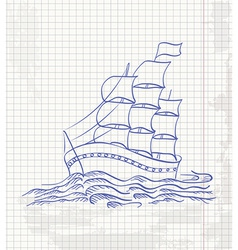 Hand drawing a sketch of a ship sailing on the vector