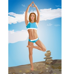 Young woman training in mountains vector