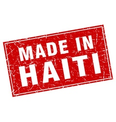 Haiti red square grunge made in stamp vector