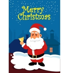 Santa claus with golden bell on the roof vector