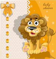 Yellow baby shower card with cute cartoon lion vector image