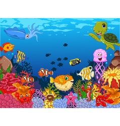 funny sea animals cartoon set with sea life vector image