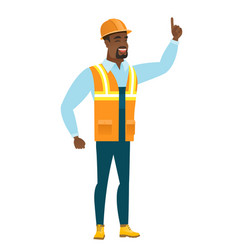 African builder pointing with his forefinger vector