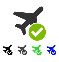 Aircraft ok flat icon vector