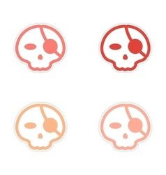 Assembly sticker stylish skull with eye patch on vector