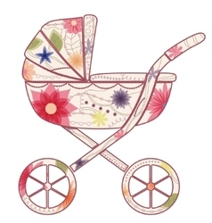 Baby carriage for girl vector image