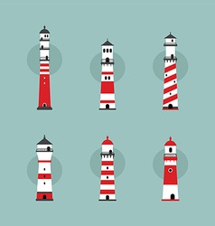 beach lighthouse set vector image