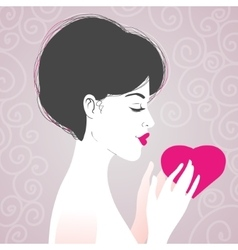 Beautiful woman with heart symbol of love vector image