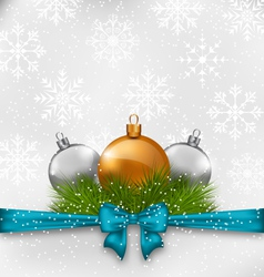 Christmas background with fir twigs and glass vector