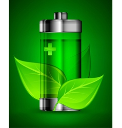 ecology alternative battery leaves 10 v vector image