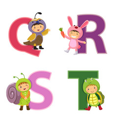 english alphabet with kids in animal costume q-t vector image vector image
