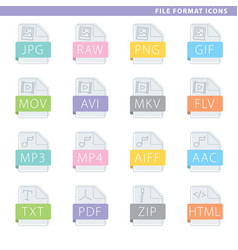 File format colorful icons vector