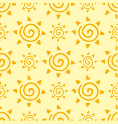 hand drawn yellow sun planet seamless pattern vector image